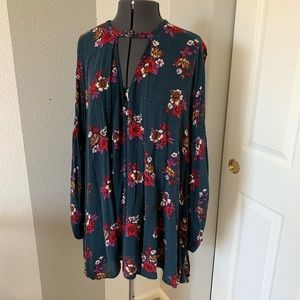 Free People hunter green floral swing shirt small